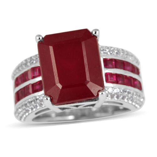 African Ruby (Oct 9.50 Ct), Burmese Ruby and Natural Cambodian Zircon Ring in Rhodium Plated Sterling Silver 11.100 Ct.