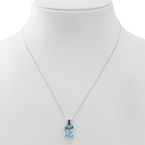 AAA Electric Swiss Blue Topaz (Cush 7.60 Ct), Kanchanaburi Blue Sapphire Pendant With Chain (Size 18) in Rhodium Plated Sterling Silver 8.000 Ct.