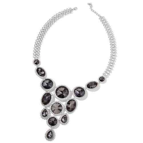 Simulated Grey Diamond BIB Necklace (Size 22 with 2 inch Extender) in Silver Tone