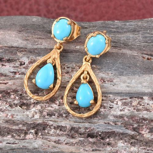 Arizona Sleeping Beauty Turquoise (Pear) Drop Earrings (with Push Back) in 14K Gold Overlay Sterling Silver 1.500 Ct.