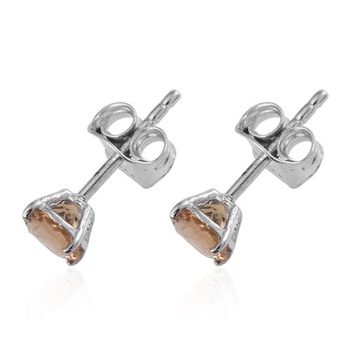 Marialite (Rnd) Stud Earrings (with Push Back) in Platinum Overlay Sterling Silver 1.000 Ct.