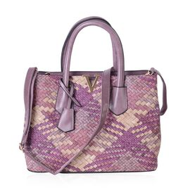 Burgundy and Multi Colour Woven Pattern Tote Bag with Shoulder Strap (Size 32.5x15.5 Cm)