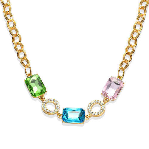 Simulated Blue and Pink Sapphire, Simulated Emerald and White Austrian Crystal Necklace (Size 18) in Gold Tone