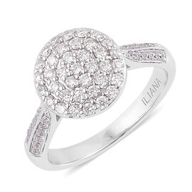 ILIANA 18K White Gold IGI Certified Diamond (Rnd) (SI G-H) Cluster Engagement Ring 0.500 Ct.