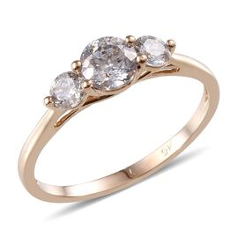 9K Y Gold (Rnd) 3 Stone Ring Made with SWAROVSKI ZIRCONIA 1.340 Ct.