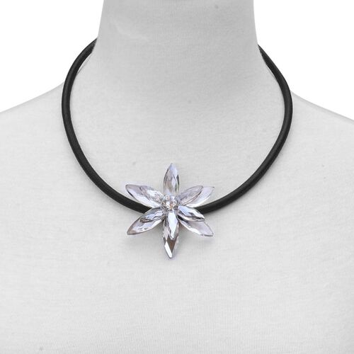 Grey Glass Floral Necklace (Size 18 with 2 inch Extender) in Silver Tone 25.000 Ct.