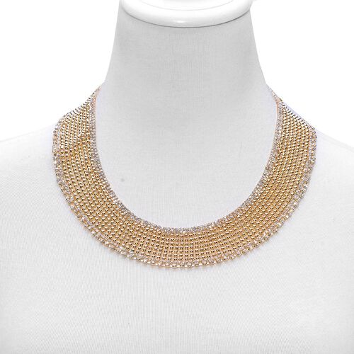 White Austrian Crystal Choker Necklace (Size 18 with 2 inch Extender) in Gold Tone