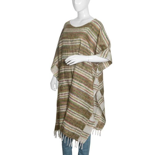 Green, White and Multi Colour Stripes Pattern Poncho with Tassels (Free Size)
