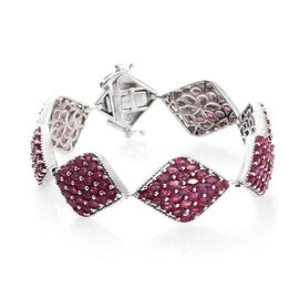 Limited Edition Designer Inspired - African Ruby (Mrq) Bracelet (Size 7.5) in Platinum Overlay Sterling Silver 19.250 Ct.Silver Wt 25.00 Gms