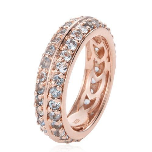 Two Row Aquamarine 1.75 Ct Silver Full Eternity Stacker Ring in Rose Gold Overlay