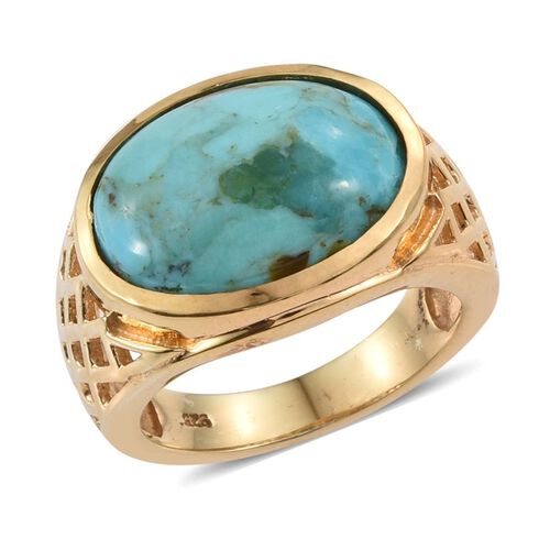 Arizona Matrix Turquoise (Ovl) Solitaire Ring in 14K Gold Overlay Sterling Silver 5.750 Ct. Silver wt 5.83 Gms.