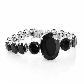 Boi Ploi Black Spinel (Ovl 35.20 Ct) Bracelet (Size 6.5) in Platinum Overlay Sterling Silver 91.250 Ct. Silver wt. 22.00 Gms.