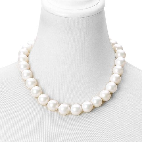 Rare Big Size White Shell Pearl (16 mm) Ball Beads Necklace (Size 20) with Magnetic Clasp in Rhodium Plated Sterling Silver