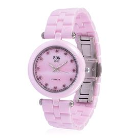 EON Pink Ceramic SWISS MOVEMENT Burmese Ruby Studded Mother of Pearl Sapphire Glass Watch