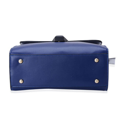 Navy Colour Croc Embossed Hand Bag with External Zipper Pocket and Adjustable Shoulder Strap (Size 26x19x8 Cm)