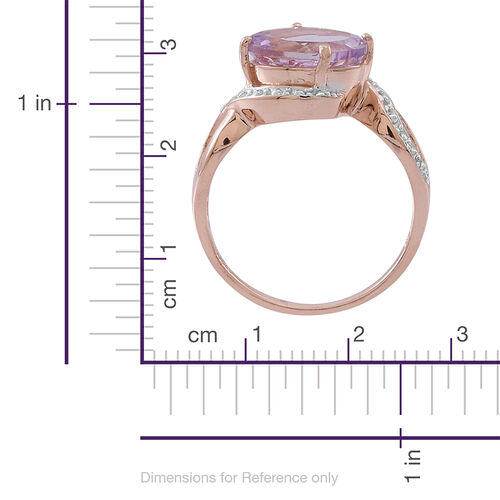 Rose De France Amethyst (Ovl) Solitaire Ring in Rose Gold Overlay Sterling Silver 3.250 Ct.