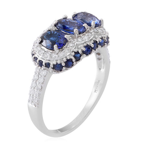 ILIANA 18K White Gold AAAA Ceylon Sapphire (Ovl), Diamond (SI/GH) Ring 4.150 Ct.