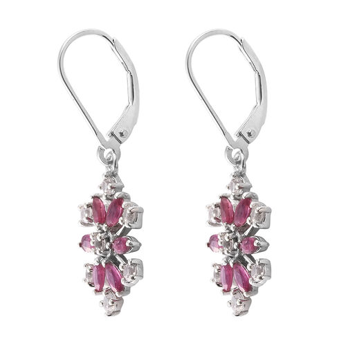 African Ruby (Mrq), Natural Cambodian Zircon Snowflake Lever Back Earrings in Platinum Overlay Sterling Silver 2.250 Ct.