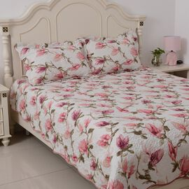 White, Pink and Green Colour Flower Printed Quilt with 2 Pillow Shams