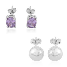 Gift Idea-Set of 2 - Amethyst and Ball Stud Earrings (with Push Back) in Sterling Silver 2.000 Ct.