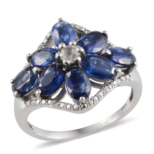 Himalayan Kyanite (Ovl), White Topaz Ring in Platinum Overlay Sterling Silver 4.250 Ct.