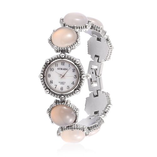 STRADA Japanese Movement White Dial Water Resistant Watch in Silver Tone with Stainless Steel Back and Agate Strap 100.000 Ct.