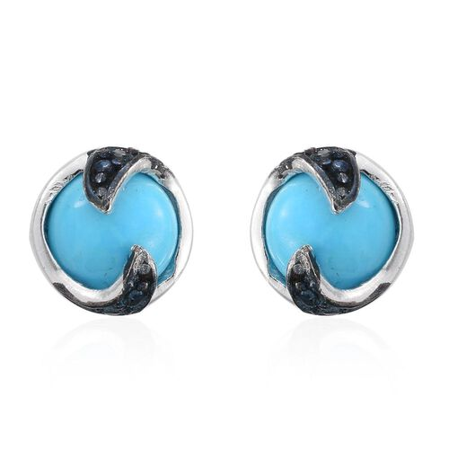 Arizona Sleeping Beauty Turquoise (Rnd), Blue Diamond Stud Earrings (with Push Back) in Platinum Overlay Sterling Silver 1.250 Ct.
