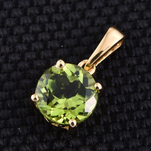 Hebei Peridot (Rnd) Solitaire Pendant in 14K Gold Overlay Sterling Silver 2.000 Ct.