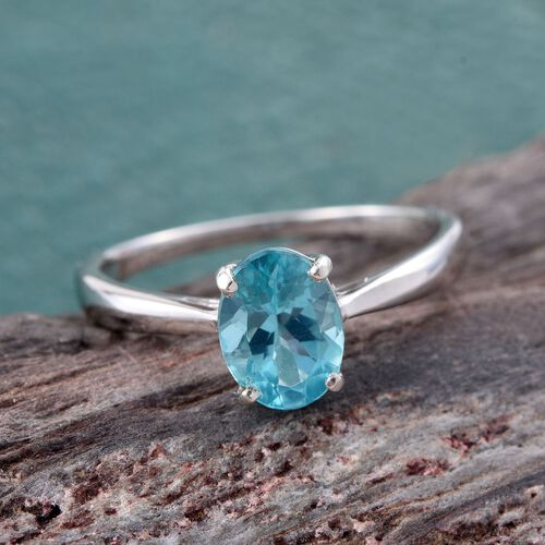 Paraiba Apatite (Ovl) Solitaire Ring in Platinum Overlay Sterling Silver 1.250 Ct.
