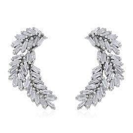 Designer Inspired Fire Cracker Diamond (Bgt) Leaves Earrings (with Push Back) in Platinum Overlay Sterling Silver 0.500 Ct.