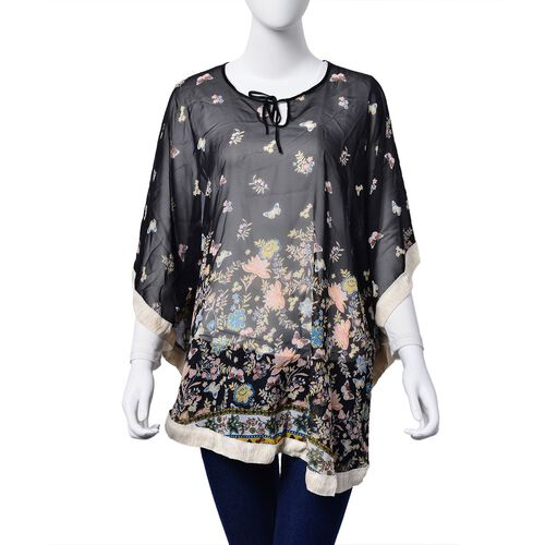 Multi Colour Floral and Butterfly Pattern Black Colour Poncho (Free Size)