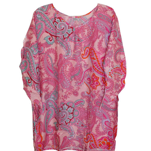 100% Rayon Pink and Multi Colour Floral Pattern Poncho (Size 90x60 Cm)