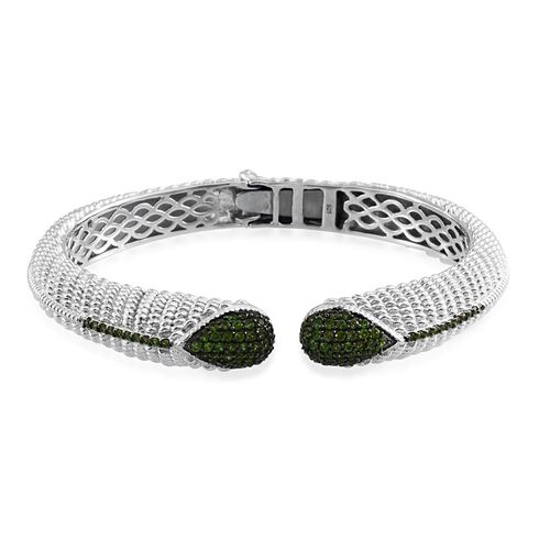 Designer Inspried Russian Diopside (Rnd) Open Bangle (Size 7.5) in Platinum Overlay Sterling Silver 2.500 Ct. Silver wt 45.26 Gms.