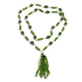 Green Quartzite Necklace (Size 28) in Silver Tone 48.650 Ct.