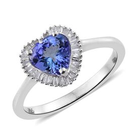 9K White Gold 1.50 Ct AA Tanzanite Halo Heart Ring with Diamond