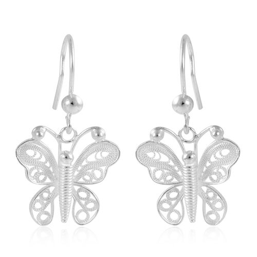 Royal Bali Collection Sterling Silver Butterfly Hook Earrings