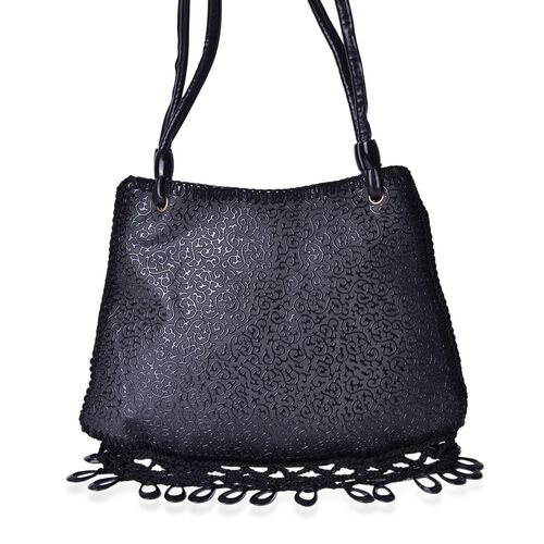 Crochet Lace and Dangling Charms Embellished Black Colour Scroll Vine Pattern Water Resistant Tote Bag (Size 32X23 Cm)