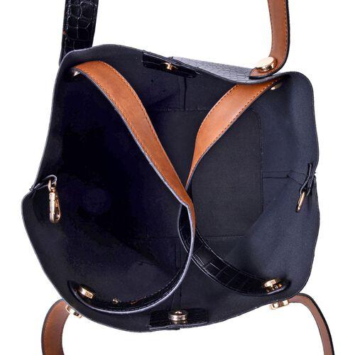 Set of 2 - Black and Brown Colour Crock Embossed Large Handbag (Size 40x31x25x20) and Small Handbag (Size 21x19x10 Cm)