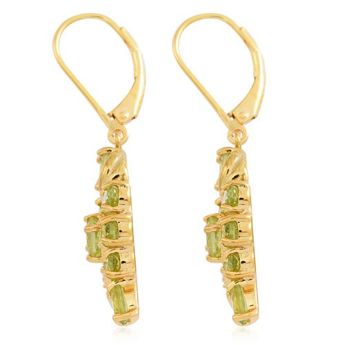 Hebei Peridot (Ovl) Lever Back Earrings in 14K Gold Overlay Sterling Silver 4.000 Ct.