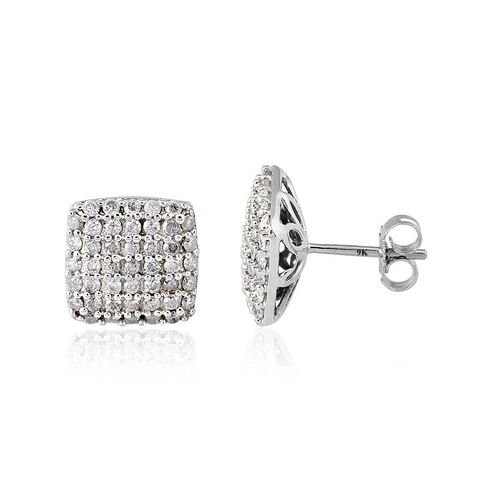 9K W Gold SGL Certified Diamond (Rnd) (I3 / G-H) Stud Earrings (with Push Back) 1.000 Ct.