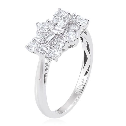 ILIANA 18K White Gold 1 Carat Diamond Boat Cluster Ring, SI G-H, IGI Certified