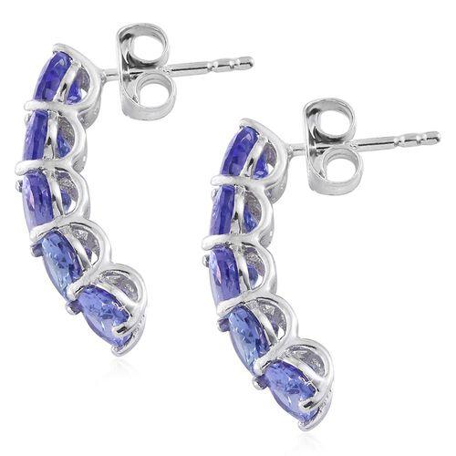 9K White Gold 2.25 Ct AA Tanzanite J Hoop Earrings (with Push Back)