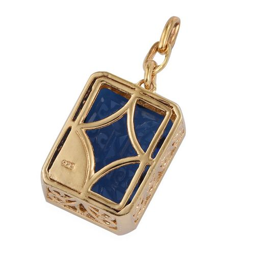 Checkerboard Cut Ceylon Colour Quartz (Oct) Pendant in 14K Gold Overlay Sterling Silver 17.000 Ct.
