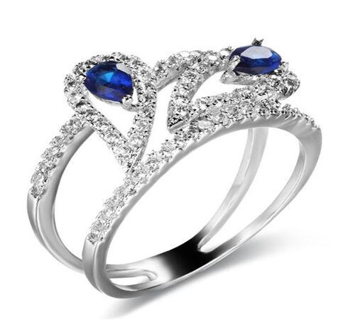 Kanchanaburi Blue Sapphire (Pear), Diamond Ring in Rhodium Plated Sterling Silver 1.250 Ct.