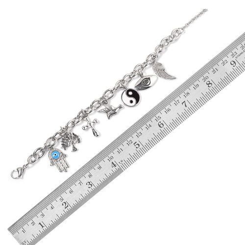 Stainless Steel Wing, Eye, Ying Yang, Bird, Cross, Tree and Hamsa Hand Charm Enameled Bracelet (Size 7.5)