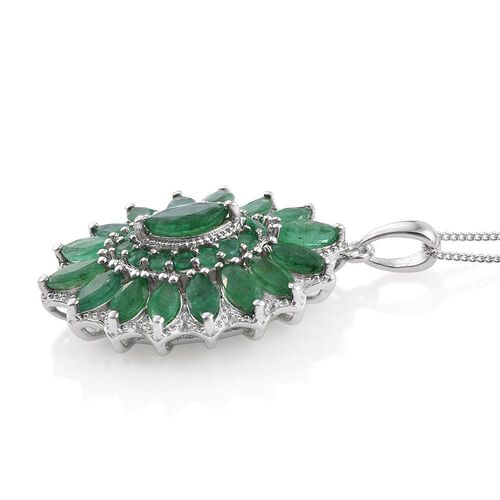 Kagem Zambian Emerald (Mrq) Pendant With Chain in Platinum Overlay Sterling Silver 5.000 Ct.
