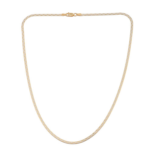 JCK Vegas Collection 14K Gold Overlay Sterling Silver Wave Design Flattened Snake Chain (Size 18), Silver wt. 3.50 Gms.