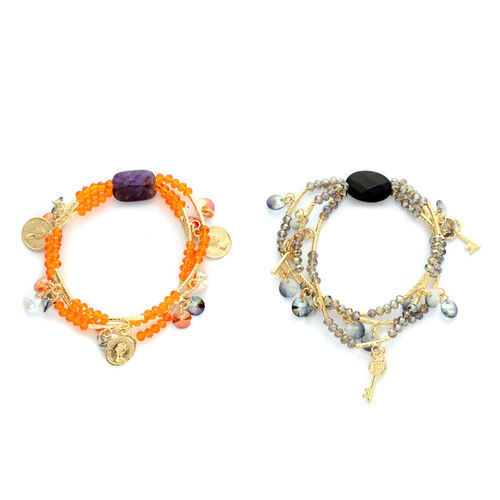 Set of 2 - Amethyst, Black Agate and Multi Colour Glass Stretchable Bracelet
