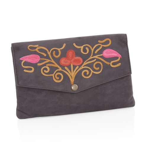 Grey, Orange and Multi Colour Floral Hand Embroidered Suede Clutch (Size 20X12 Cm)