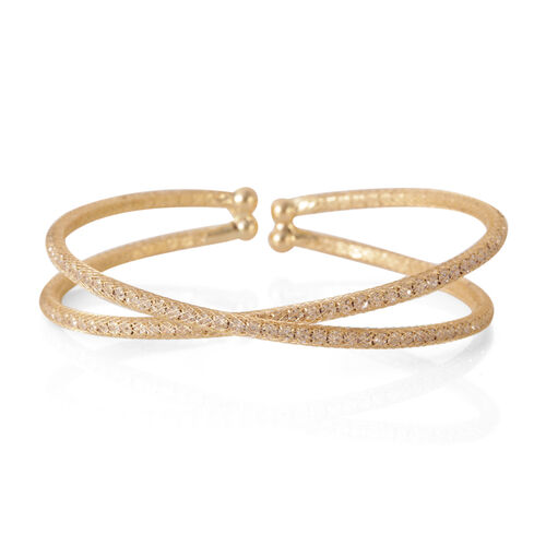 AAA Austrian Crystal Criss Cross Bangle (Size 7.5) in Gold Bond